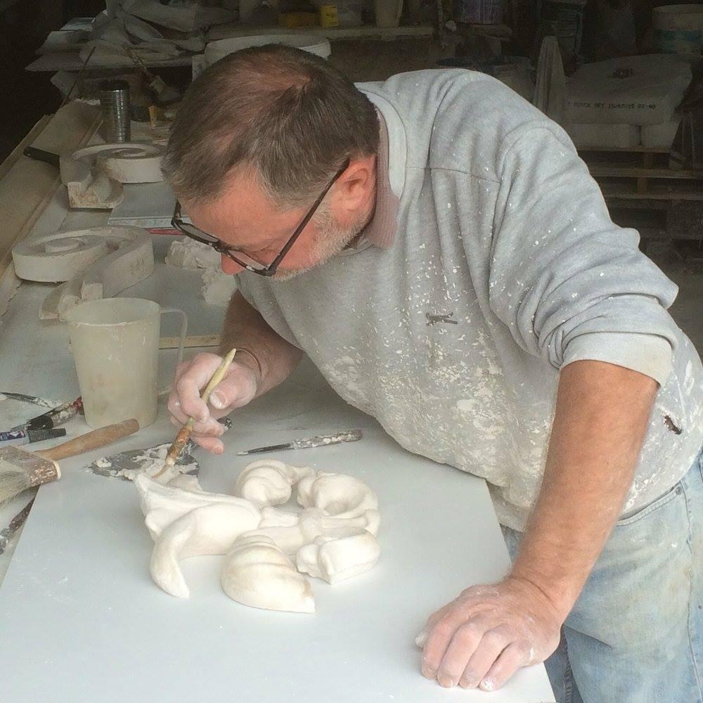 James Heffernan working on moulding for Shelbourne Hotel Restoration